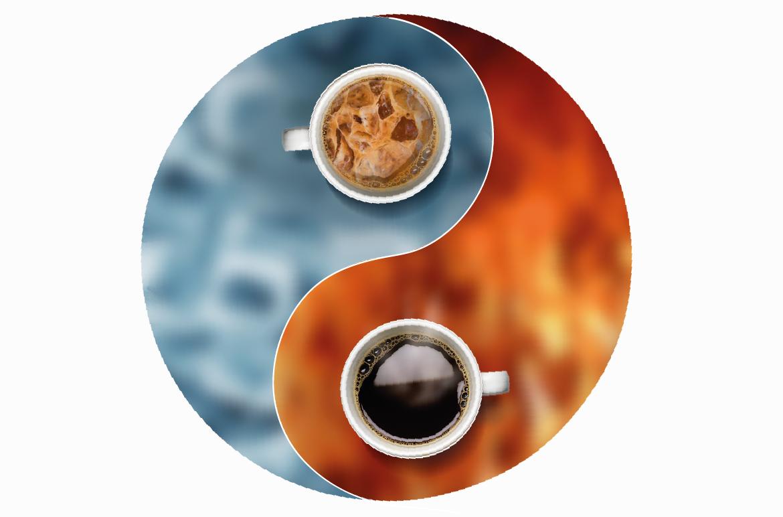 café quente e gelado